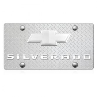 iPickimage® - 3D Silverado Logo on Diamond Stainless Steel License Plate with Chrome Bowtie