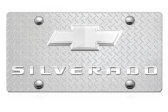 DWD® - 3D Silverado Logo on Diamond Stainless Steel License Plate with Chrome Bowtie