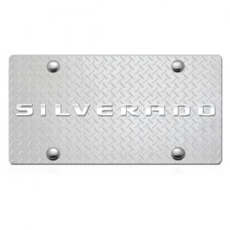 iPickimage® - 3D Silverado Logo on Diamond Stainless Steel License Plate