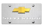 DWD® - 3D Silverado Logo on Diamond Stainless Steel License Plate with Gold Bowtie