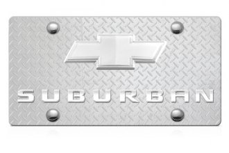 DWD® - 3D Suburban Logo on Diamond Stainless Steel License Plate with Chrome Bowtie