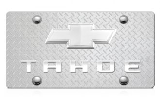 DWD® - 3D Tahoe Logo on Diamond Stainless Steel License Plate with Chrome Bowtie