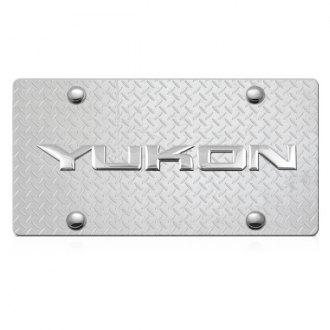 DWD® - 3D Yukon Logo on Diamond Stainless Steel License Plate