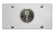 DWD® - 3D Army Logo on Diamond Stainless Steel License Plate