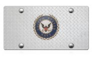 DWD® - 3D Navy Logo on Diamond Stainless Steel License Plate