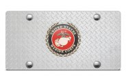DWD� - 3D Marines Logo on Diamond Stainless Steel License Plate