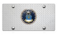 DWD� - 3D Air Force Logo on Diamond Stainless Steel License Plate