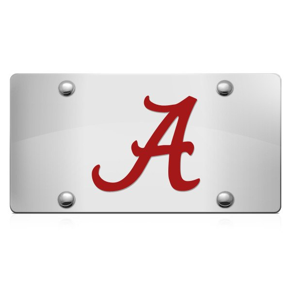 DWD® - 3D Alabama A Logo on Chrome Stainless Steel License Plate