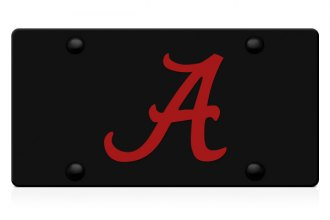 DWD® - 3D Alabama A Logo on Black Stainless Steel License Plate