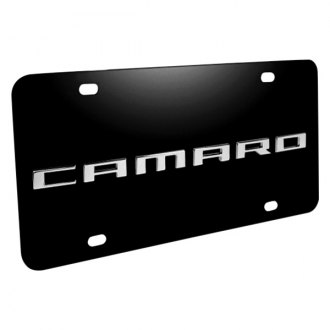 DWD® - 3D Camaro Logo on Black Stainless Steel License Plate