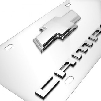 iPickimage® - 3D Camaro Logo on Chrome Stainless Steel License Plate with Chrome Bowtie