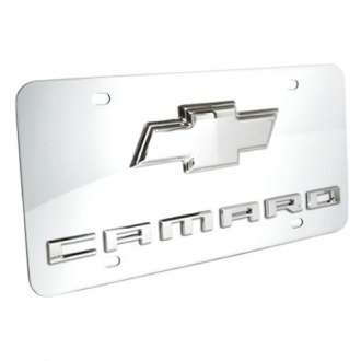 DWD® - 3D Camaro Logo on Chrome Stainless Steel License Plate with Chrome Bowtie