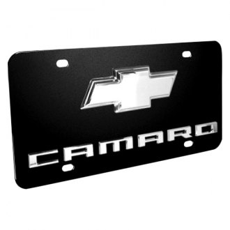 iPickimage® - 3D Camaro Logo on Black Stainless Steel License Plate with Chrome Bowtie