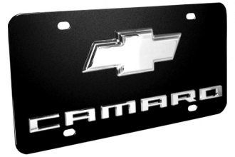 DWD® - 3D Camaro Logo on Black Stainless Steel License Plate with Chrome Bowtie