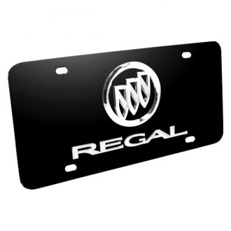 DWD® - 3D Regal Logo on Black Stainless Steel License Plate with Buick Emblem