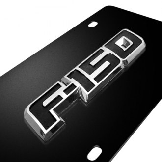 iPickimage® - 3D F-150 Logo on Black Stainless Steel License Plate