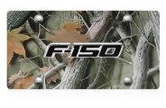 DWD® - 3D F-150 Logo on Camo Stainless Steel License Plate