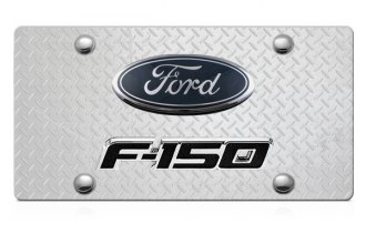DWD® - 3D F-150 Double Logo on Diamond Stainless Steel License Plate