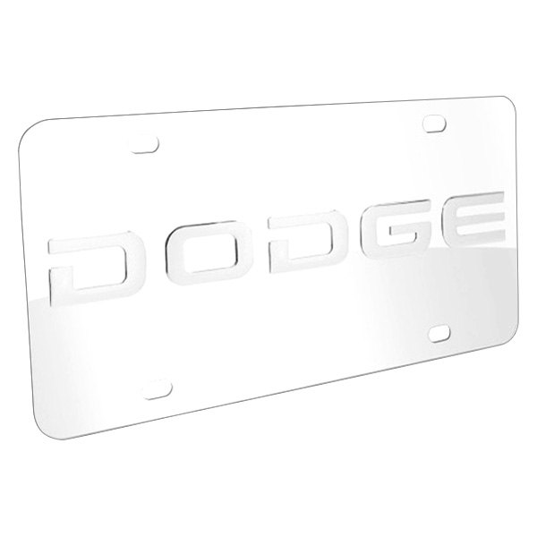 DWD® - 3D Dodge Logo on Chrome Stainless Steel License Plate