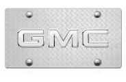 DWD® - 3D GMC Chrome Logo on Diamond Stainless Steel License Plate