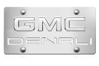 DWD® - 3D Denali Logo on Chrome Stainless Steel License Plate with Chrome GMC Emblem