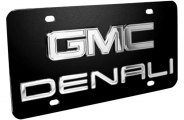 DWD® - 3D Denali Logo on Black Stainless Steel License Plate with Chrome GMC Emblem