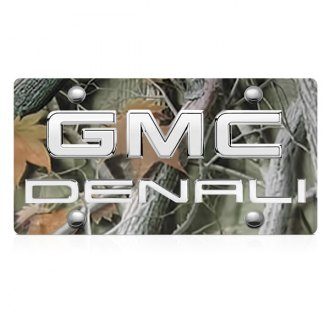 DWD® - 3D Denali Logo on Camo Stainless Steel License Plate with Chrome GMC Emblem