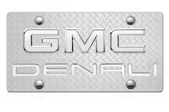 DWD® - 3D Denali Logo on Diamond Stainless Steel License Plate with Chrome GMC Emblem