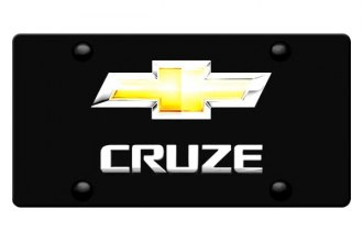 DWD® 316471 - 3D Cruze Logo on Black Stainless Steel License Plate with New Gold Bowtie
