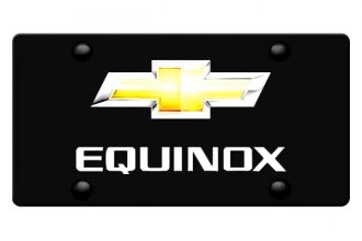 DWD® - 3D Equinox Logo on Black Stainless Steel License Plate with New Gold Bowtie