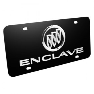 DWD® - 3D Enclave Logo on Black Stainless Steel License Plate with Buick Emblem
