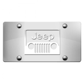 iPickimage® - 3D Jeep Grille Logo on Chrome Stainless Steel License Plate