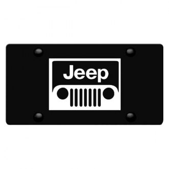iPickimage® - 3D Jeep Grille Logo on Black Stainless Steel License Plate