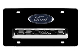 DWD® - 3D Escape with Ford Oval Logo on Black Stainless Steel License Plate