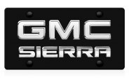 DWD® - 3D Sierra Logo on Black Stainless Steel License Plate with Chrome GMC Emblem