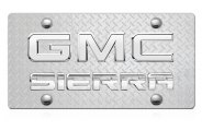 DWD® - 3D Sierra Logo on Diamond Stainless Steel License Plate with Chrome GMC Emblem