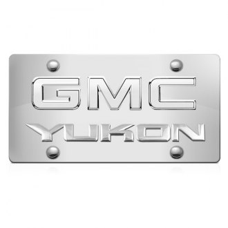 iPickimage® - 3D Yukon Logo on Chrome Stainless Steel License Plate with Chrome GMC Emblem