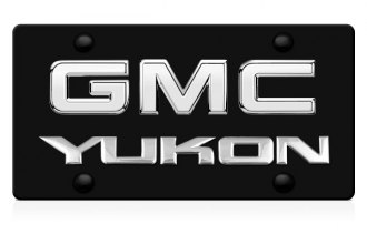 DWD® - 3D Yukon Logo on Black Stainless Steel License Plate with Chrome GMC Emblem