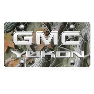 DWD® - 3D Yukon Logo on Camo Stainless Steel License Plate with Chrome GMC Emblem