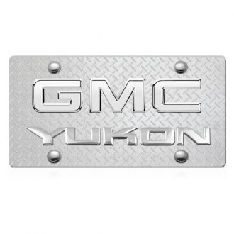 DWD® - 3D Yukon Logo on Diamond Stainless Steel License Plate with Chrome GMC Emblem