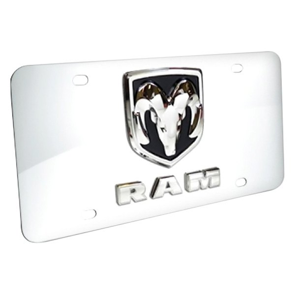 DWD® - 3D Dodge Ram Double Logo on Chrome Stainless Steel License Plate