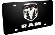 DWD® - 3D Dodge Ram Double Logo on Black Stainless Steel License Plate
