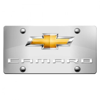 DWD® - 3D Camaro Logo on Chrome Stainless Steel License Plate with New Gold Bowtie