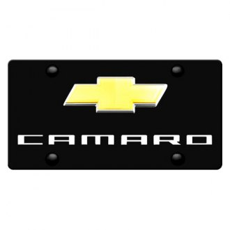 DWD® - 3D Camaro Logo on Black Stainless Steel License Plate with New Gold Bowtie