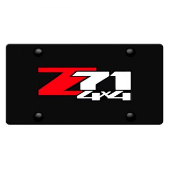 iPickimage® - 3D Z71 4X4 Logo on Black Stainless Steel License Plate