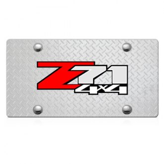 iPickimage® - 3D Z71 4X4 Logo on Diamond Stainless Steel License Plate