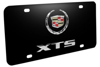 DWD® - 3D Cadillac XTS Double Logo on Black Stainless Steel License Plate