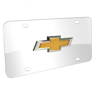 iPickimage® - 3D Chrome Stainless Steel License Plate with New Gold Bowtie