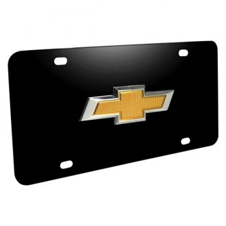 iPickimage® - 3D Black Stainless Steel License Plate with New Gold Bowtie