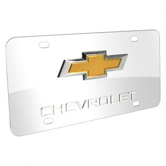 iPickimage® - 3D Gold Double Bowtie on Chrome Stainless Steel License Plate